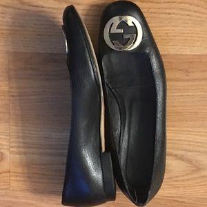 Authentic Gucci Black Leather LoGo Women's Shoes
